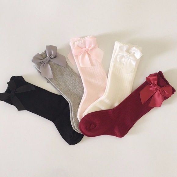 Ladies Girls Over The Knee White Cotton Socks With Coloured Satin Bow Size 4-6